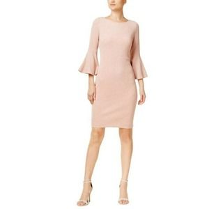 Calvin Klein Pink Shimmer Bell Sleeve Pencil Dress